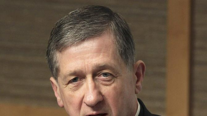 File photo of Bishop Blase Cupich answering questions from the press in Bellevue Washington