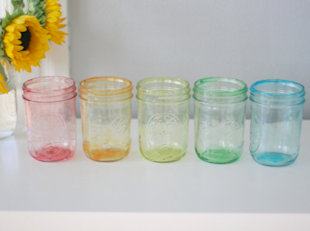 Rainbow Tinted Mason Jars