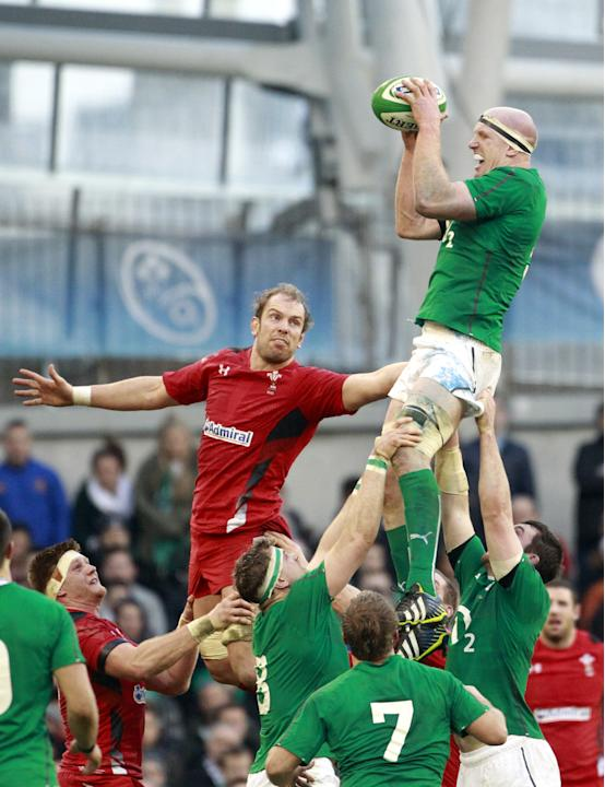 Ireland's Paul O'Connell, right, wins a line out against Wales during their Six Nations Rugby Union international match at the Aviva Stadium, Dublin, Ireland, Saturday, Feb. 8, 2014. (AP Photo