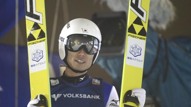 Japan's Ito reacts after his jump in the men's ski jumping HS 142 Large Hill Individual competition at the FIS Ski Jumping World Cup in Ruka, Kuusamo