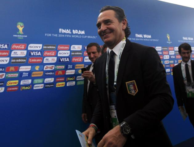 Italy's coach Cesare Prandelli arrives for the draw for the 2014 World Cup at the Costa do Sauipe resort in Sao Joao da Mata