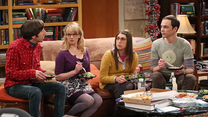 "FILE - This file image released by CBS shows, from left, Simon Helberg, Melissa Rauch, Mayim Bialik and Jim Parsons in a scene from ""The Big Bang Theory."" CBS reports quarterly earnings on Thursday, May 8, 2014. (AP Photo/CBS, Michael Yarish, File)"