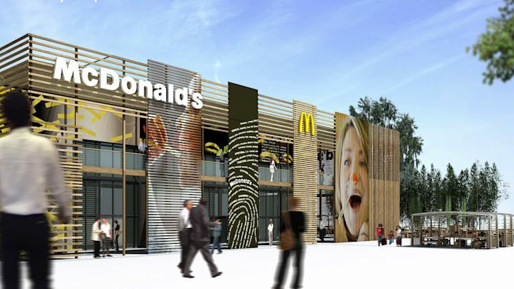 "This undated computer generated image taken from McDonald's website shows the exterior of the London 2012 Olympics-McDonald's Central Restaurant in London.  British doctors have slammed the sponsorship of the London Olympics by companies like McDonalds, saying it sends the wrong message amid the country's ballooning obesity crisis. Big Macs, fries and milkshakes will be part of McDonald's exclusive ""meal brand"" of the Olympics and the fast-food giant will soon be opening its largest franchise in the world, a two-storey cathedral-like restaurant that seats 1,500 customers, at London's Olympic Park. (AP Photo/Website McDonald's London 2012 Olympic Summer Games)"