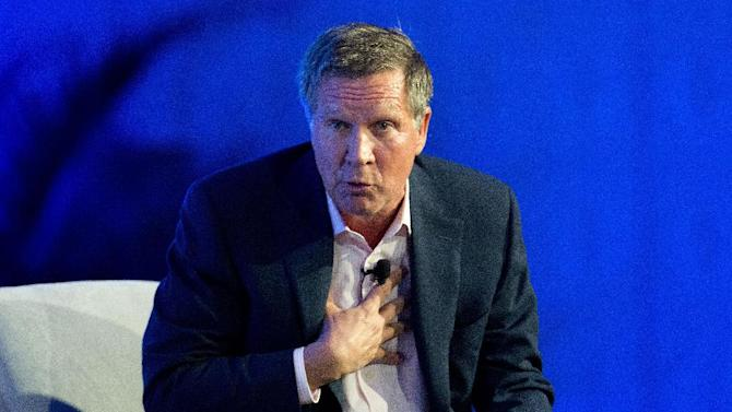 FILE - This Nov. 19, 2014, file photo shows Ohio Gov. John Kasich at the Republican Governors Association annual conference in Boca Raton, Fla. The conference felt like a test run for what is increasingly shaping up as a brutal showdown for the Republican presidential nomination among more than a dozen potential contenders. (AP Photo/J Pat Carter, File )