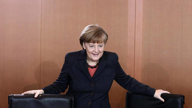 German Chancellor Angela Merkel arrives for weekly cabinet meeting in Berlin