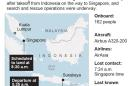 Updates the number of people onboard to match the current report. Please note a path is not available at this time.: Map locates Jakarta, Indonesia and details of the missing AirAsia plane.; 2c x 4 inches; 96.3 mm x 101 mm;