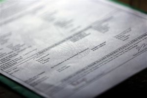 A marriage certificate is seen after a humanist wedding…
