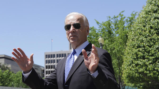 Vice President Joe Biden leaves Blair House in Washington, Thursday, May 5, 2011, following a meeting with congressional Republicans and Democrats in hopes of striking a deal on deficit reduction.  (AP Photo/J. Scott Applewhite)