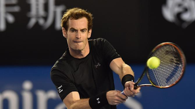 Britain's Andy Murray plays a shot during his quarter-final match against Australia's Nick Kyrgios at the Australian Open in Melbourne, on January 27, 2015