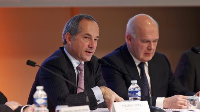 French bank Societe Generale CEO Frederic Oudea and Deputy Chief Executive Officer Severin Cabannes attend a news conference to present the company's 2015 annual results La Defense near Paris