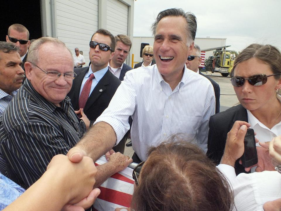 Republican presidential candidate, former Massachusetts Gov. Mitt Romney shakes hands during a campaign event at Watson Truck and Supply, Thursday, Aug. 23, 2012, in Hobbs, N.M. (AP Photo/Hobbs News-Sun, Todd Bailey)