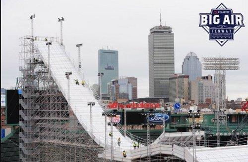 Here's That Giant Ski Ramp Set Up in Fenway Park