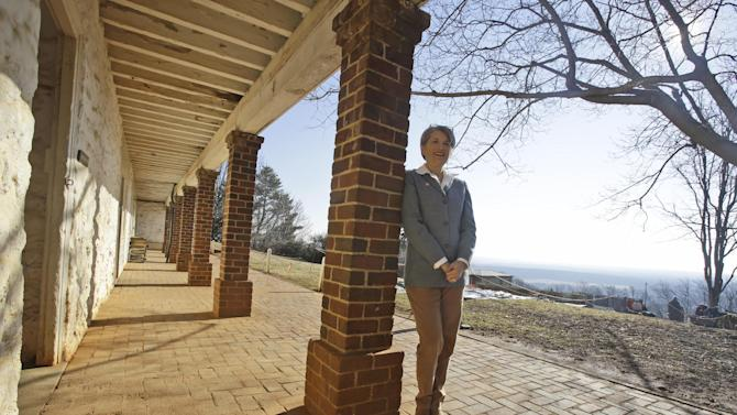 Leslie Greene Bowman president and CEO of the Thomas Jefferson foundation, poses along the south terrace near the kitchen of Thomas Jefferson's Monticello in Charlottesville, Va., Friday, Feb. 7, 2014. Jefferson's Monticello will offer many remembrances of his years in France when President Francois Hollande and President Barack Obama visit Monticello on Monday, Feb. 10. (AP Photo/Steve Helber)thanks.