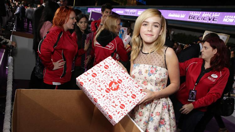 "Kiernan Shipka seen at the World Premiere of Open Road's ""Justin Bieber's Believe"" presented by Teen Vogue and sponsored by Clearasil, on Wednesday, Dec. 18, 2013 in Los Angeles. (Photo by Eric Charbonneau/Invision for Open Road Films/AP Images)"