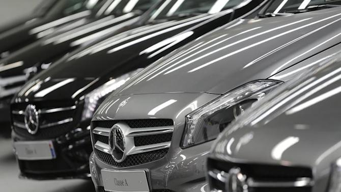 Mercedes-Benz A-class cars are displayed in a dealership of German car manufacturer Daimler in Paris