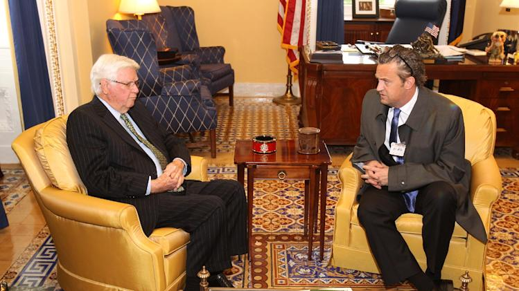 IMAGE DISTRIBUTED FOR NATIONAL ASSOCIATION OF DRUG COURT PROFESSIONALS -  National Association of Drug Court Professionals All Rise Ambassador actor Matthew Perry, right, meets with Rep. Hal Rogers (R-KY), Chairman of the House Appropriations Committee, co-founder of the Congressional Caucus on Prescription Drug Abuse and the Youth Drug Caucus, to discuss Drug Courts as a solution to prescription drug abuse at the U.S. Capitol on Tuesday, May 7, 2013 in Washington, DC. (Paul Morigi / AP Images for National Association of Drug Court Professionals)