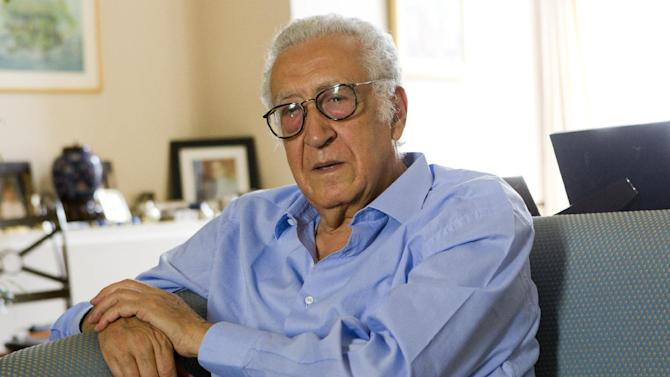 Former Algerian foreign affairs minister  and new Syria envoy Lakhdar Brahimi attends during an interview with The Associated Press in Paris, Sunday Aug. 19, 2012. (AP Photo/Jacques Brinon)