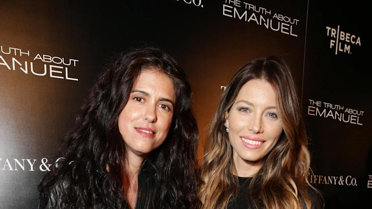 Francesca Gregorini and Jessica Biel seen at the TIFFANY & CO. Los Angeles red carpet event for Tribeca Film and Well Go USA's release of THE TRUTH ABOUT EMANUEL, on Wednesday, Dec. 4, 2013 in Los Angeles. (Photo by Eric Charbonneau/Invision for Tribeca Film/AP Images)