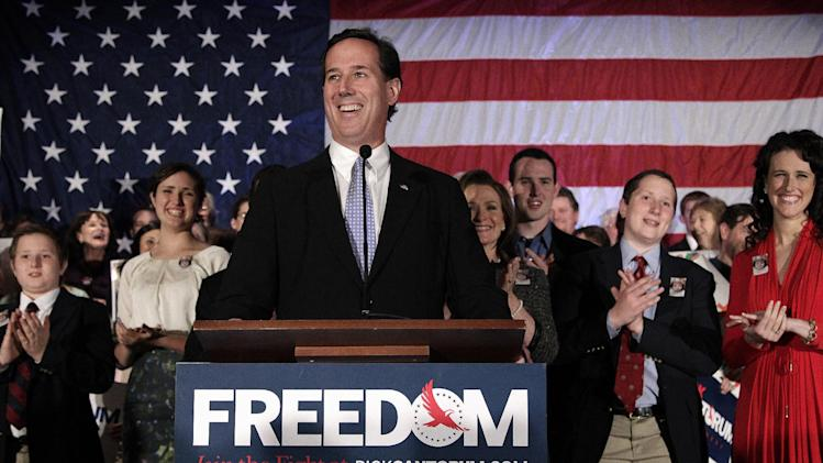 Republican presidential candidate, former Pennsylvania Sen. Rick Santorum speaks during a primary election night party in Cranberry, Pa., Tuesday, April 3, 2012. (AP Photo/Jae C. Hong)