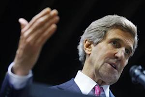 U.S. Secretary of State John Kerry speaks during a joint news conference with Philippines' Foreign Secretary Albert del Rosario in Manila