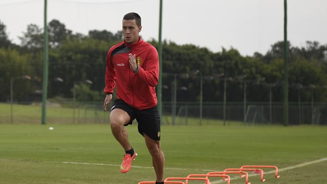 Belgium's midfielder Eden Hazard takes part in a training session in Mogi das Cruzes during the 2014 FIFA World Cup in Brazil on June 29, 2014