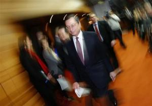 Draghi, President of the European Central Bank (ECB), arrives for his monthly news conference in Frankfurt