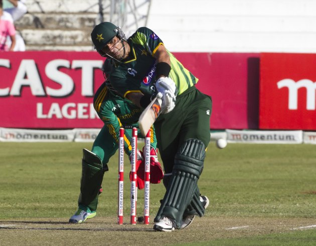 Pakistan's Misbah Ul Haq plays a shot during the 4th One Day International cricket match against South Africa in Durban