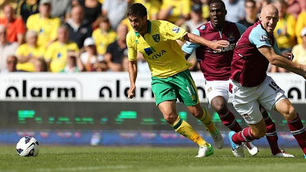Norwich City&#39;s Andrew Surman (left) and West Ham United&#39;s James Collins (right) battle for the ball (PA Sport)