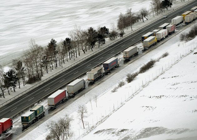 Stranded vehicles are seen on the M1 highway, west of Budapest