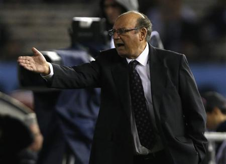 Peru's coach Sergio Markarian reacts during their 2014 World Cup qualifying soccer match against Argentina in Buenos Aires