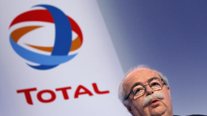 """FILE - This Friday, Feb. 11, 2011, file photo shows French energy giant Total CEO, Christophe de Margerie addressing reporters during a press conference in Paris, France.  The CEO of French oil giant Total SA was killed when his corporate jet collided with a snow removal machine Monday night at Moscow's Vnukovo Airport, the company said. Total """"confirms with deep regret and sadness"""" that Chairman and CEO Christophe de Margerie died in a private plane crash at the Moscow airport, the company said in a press release dated Tuesday and posted on its website. (AP Photo/Christophe Ena, File)"""