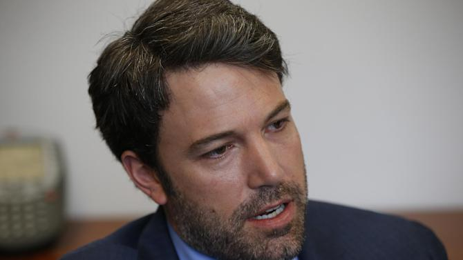 Actor Ben Affleck is interviewed by the Associated Press regarding Congo, Wednesday, Feb. 26, 2014, at the State Department in Washington. Affleck sees a window of hope in the Congo after years of strife and he's urging Congress not to let the opportunity for progress slip away. Affleck is the founder of the Eastern Congo Initiative, a four-year-old advocacy organization dedicated to peace and prosperity in the region. The actor and director was meeting with senators and testifying before the Senate Foreign Relations Committee on Wednesday. (AP Photo/Charles Dharapak)