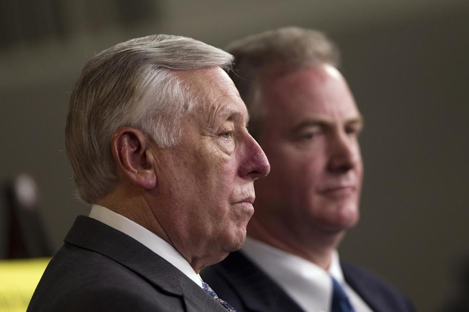 House Minority Whip Rep. Steny Hoyer, D-Md., left, and Rep. Chris Van Hollen, D-Md., hold a news conference on the payroll tax cut on Capitol Hill on Thursday, Dec. 22, 2011 in Washington.  (AP Photo/Evan Vucci)