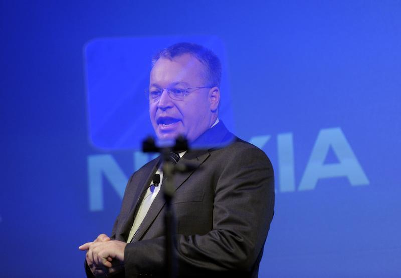 Former Nokia CEO Elop speaks during the news conference in Espoo