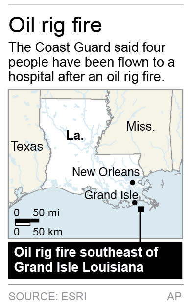 Map locates oil rig fire southeast of Grand Isle Louisiana.