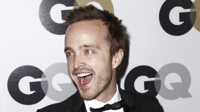 "Honoree Aaron Paul arrives at the 16th annual GQ ""Men of the Year"" party in Los Angeles, Thursday, Nov. 17, 2011. (AP Photo/Matt Sayles)"