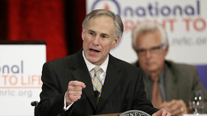 """FILE - In this June 27, 2013 file photo, Texas Attorney General Greg Abbott delivers comments at the 43rd Annual National Right To Life Convention in Grapevine, Texas. For Republicans eager to lead Texas after Gov. Rick Perry finally steps aside in 2014, there's one easy way to describe their campaign blunders so far: Oops. Abbott, the early favorite to replace Perry, thanked a supporter who tweeted that likely Democratic challenger Wendy Davis was a """"retard Barbie."""" Top Abbott strategist Dave Carney, who ran Perry's failed White House bid in 2012, himself tweeted the headline of an article that said Davis was """"too stupid"""" to be governor. Unforced errors by GOP front-runners to replace Gov. Rick Perry, when he steps aside in 2014 have given Texas Democrats, a little hope in winning a statewide office for the first time in 20 years. But as they wait for Davis' expected Oct. 3 announcement that she will run, they're left without a candidate to pounce on their rivals' missteps. (AP Photo/Tony Gutierrez)"""