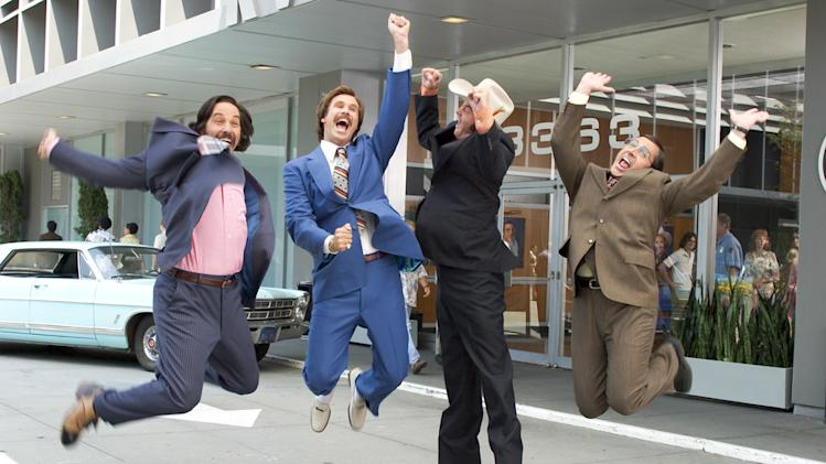 Paul Rudd Will Ferrell David Koechner Steve Carell Anchorman: The Legend of Ron Burgundy Production Stills DreamWorks 2003