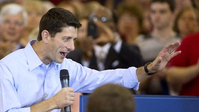 ADVANCE FOR MONDAY, AUG. 20 AND THEREAFTER - FILE - In this Aug. 16, 2012 file photo, Republican vice presidential candidate Rep. Paul Ryan, R-Wis. speaks at a campaign stop at Walsh University in North Canton, Ohio. Democrats are eagerly renewing their fight against privatizing Social Security now that Republican presidential candidate Mitt Romney has picked Paul Ryan as his running mate. It was a fight that didn't go well for the GOP back when former President George W. Bush pushed the idea in 2005.   (AP Photo/Phil Long, File)