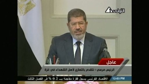 Egypt's president Mursi shows solidarity with Palestinian people
