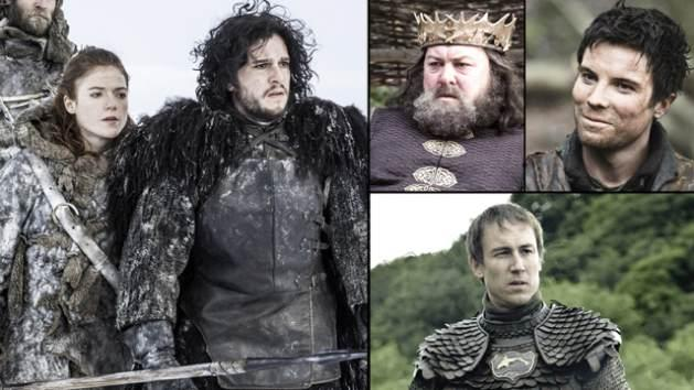 AccessHollywood.com's guide to Episode 306: Ygritte and Jon Snow (left), The late King Robert who was the father of Gendry (top right), Edmure (bottom right) -- HBO