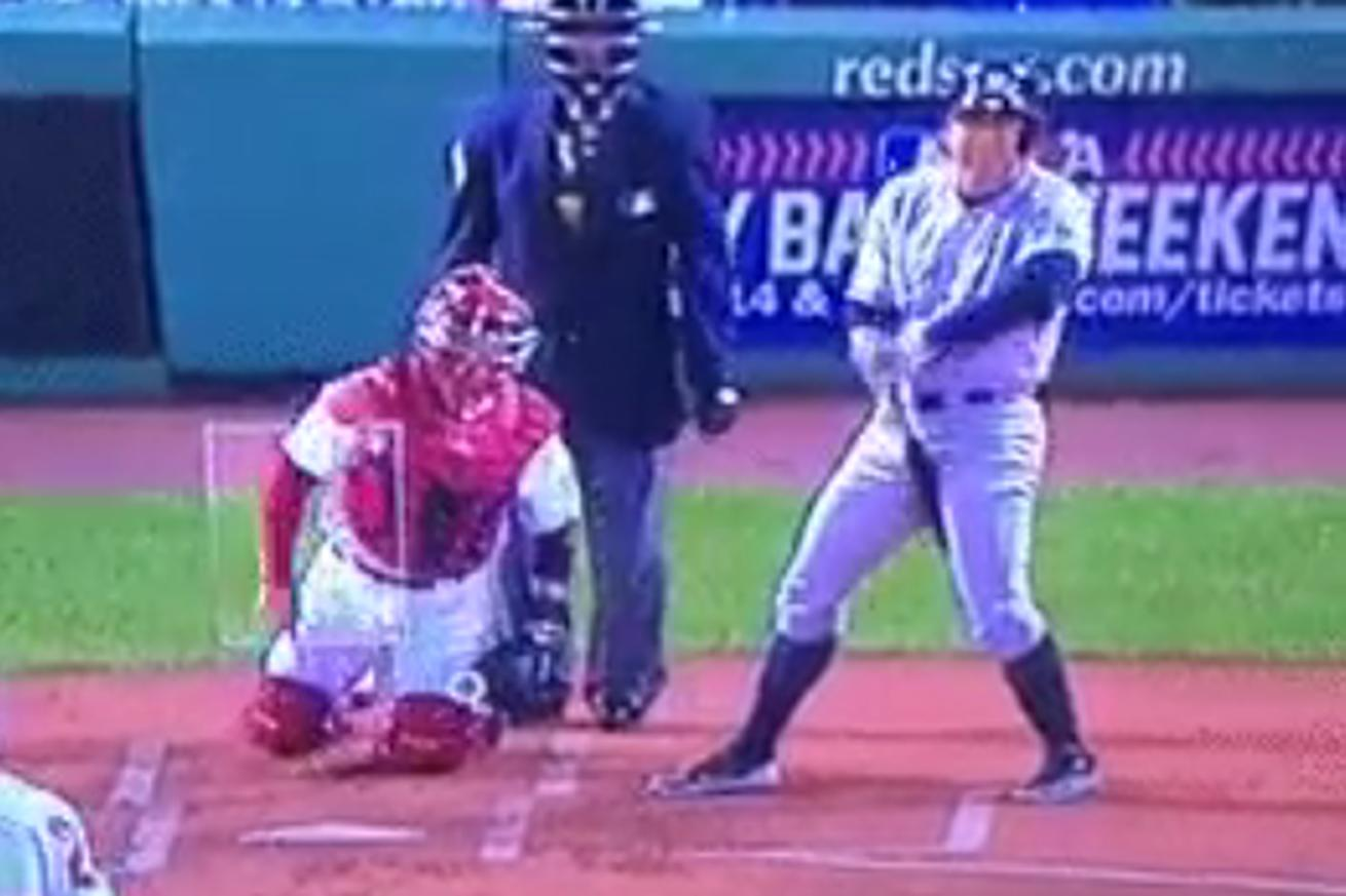 Watch Alex Rodriguez scratch his crotch with his bat