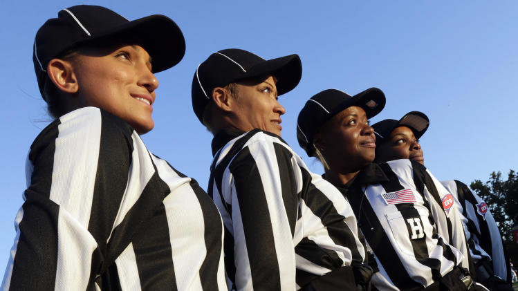 Majority-woman crew officiates D-2 football game