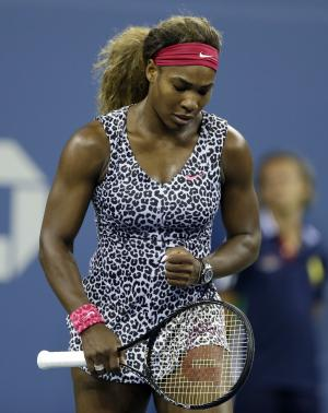Serena Williams, of the United States, reacts after defeating Taylor Townsend, of the United States, in the first round of the 2014 U.S. Open tennis tournament Tuesday, Aug. 26, 2014, in New York. (AP Photo/Darron Cummings)