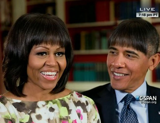 President Barack Obama Rocks Michelle's Bangs at White House Dinner