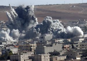 Thick smoke from an airstrike by the US-led coalition…