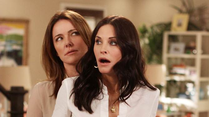 """In this publicity image released by ABC, Christa Miller, left and Courteney Cox are shown in a scene from the ABC comedy """"Cougar Town."""" The ABC sitcom, a cult favorite but never a ratings blockbuster on broadcast television, will be moving to cable's TBS, the network said Thursday, May 10, 2012. TBS has ordered a fourth season of the sitcom, which was facing cancellation by ABC. New episodes are scheduled to begin airing early next year. (AP Photo/ABC, Michal Ansell)"""