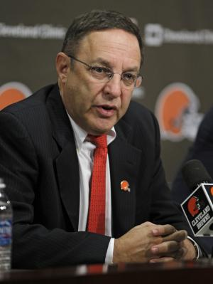Cleveland Browns new CEO Joe Banner answers questions during a news conference Wednesday, Oct. 17, 2012, in Berea, Ohio. Banner spent 19 years with the Eagles, spending 12 seasons as president before leaving the club last season. (AP Photo/Tony Dejak)