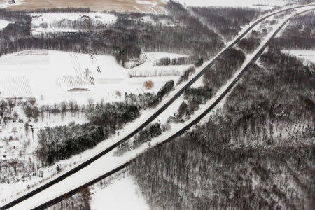 An aerial view of a section of the New York State Thruway seen shortly after it opened, near Buffalo, New York