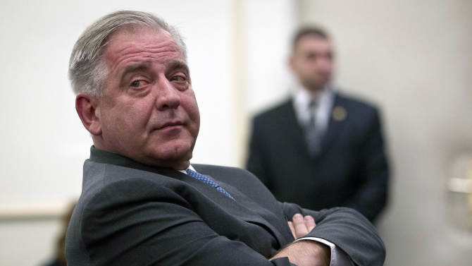Former Croatian prime minister Ivo Sanader sits in the courtroom in Zagreb, Croatia, Tuesday, Nov. 20, 2012. A court has found former Croatian Prime Minister Ivo Sanader guilty on corruption charges and has sentenced him to 10 years in prison. The 59-year-old, who served as prime minister from 2004 to 2009, is the highest ranking former official tried for graft in Croatia which has pledged to root out corruption as it becomes a European Union member in 2013.  (AP Photo/Darko Bandic)